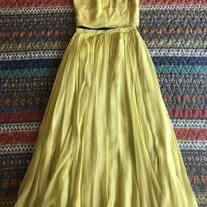 Vintage Dresses - Vintage Chartreuse Two Piece Set Top Skirt Dress